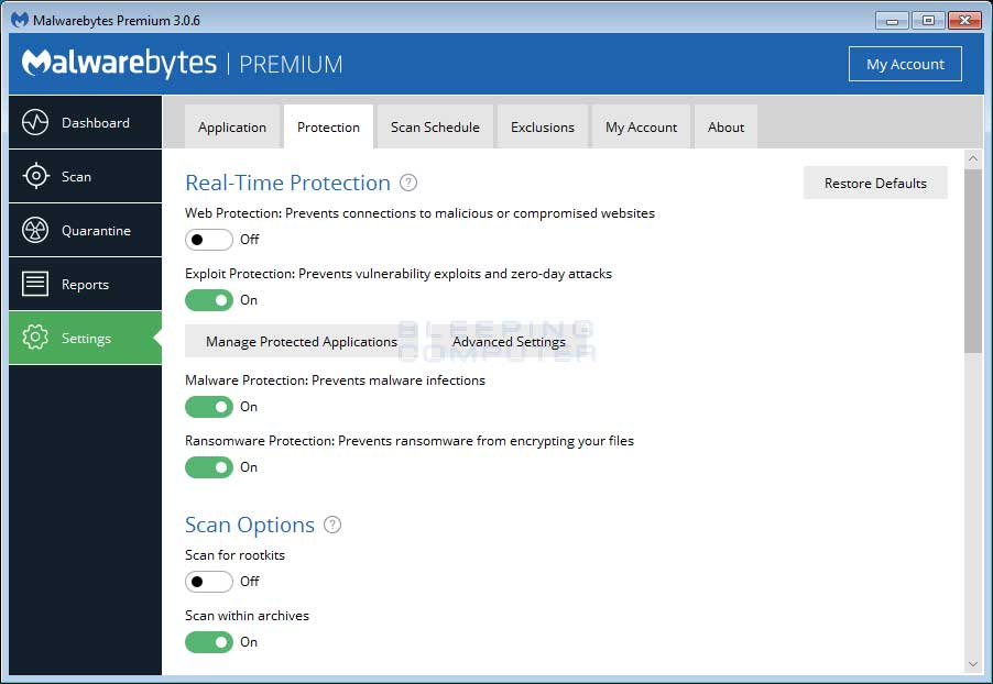 Malwarebytes Anti-Malware Detection and Protection Settings Page