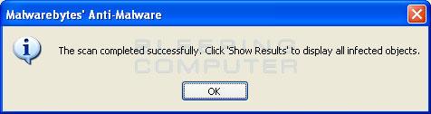 MalwareBytes Anti-Malware Scan Finished Screen