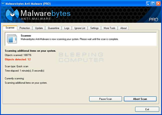 MalwareBytes Anti-Malware Scanning Screen