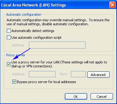 Microsoft Internet Explorer Tools Internet Options Connections LAN Settings Proxy and VPN Settings