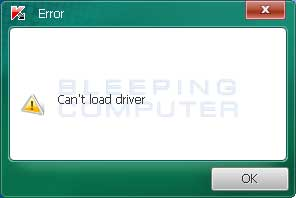 Can't Load Driver Alert