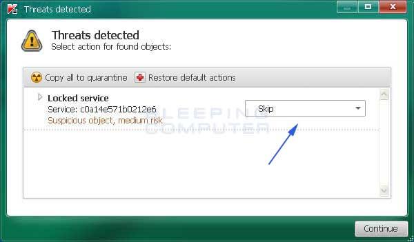 Locked Service result in TDSSKiller