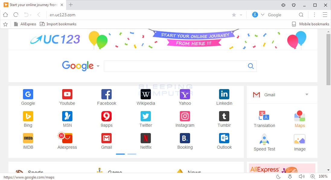 Uc123.com Homepage