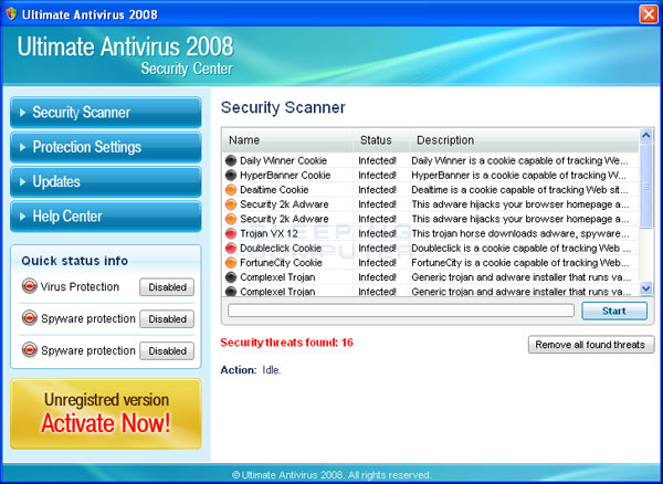 Scan results from Ultimate Antivirus 2008