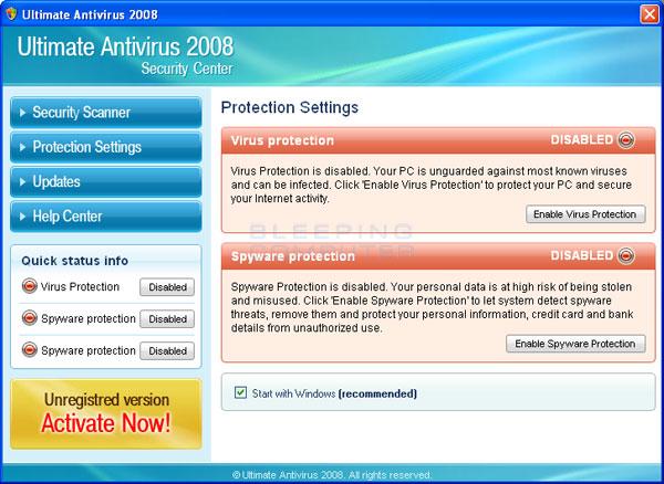 Screen shot of Ultimate Antivirus 2008