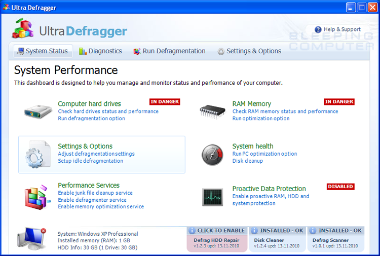 Ultra Defragger screen shot