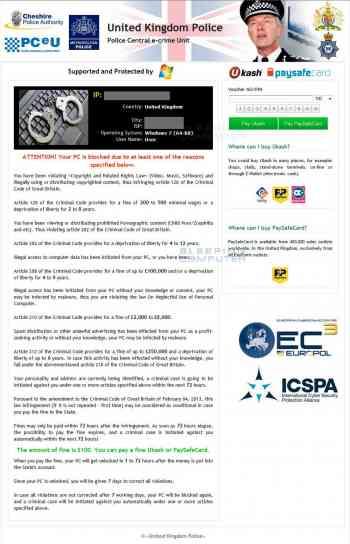 United Kingdom Police Ransomware Image