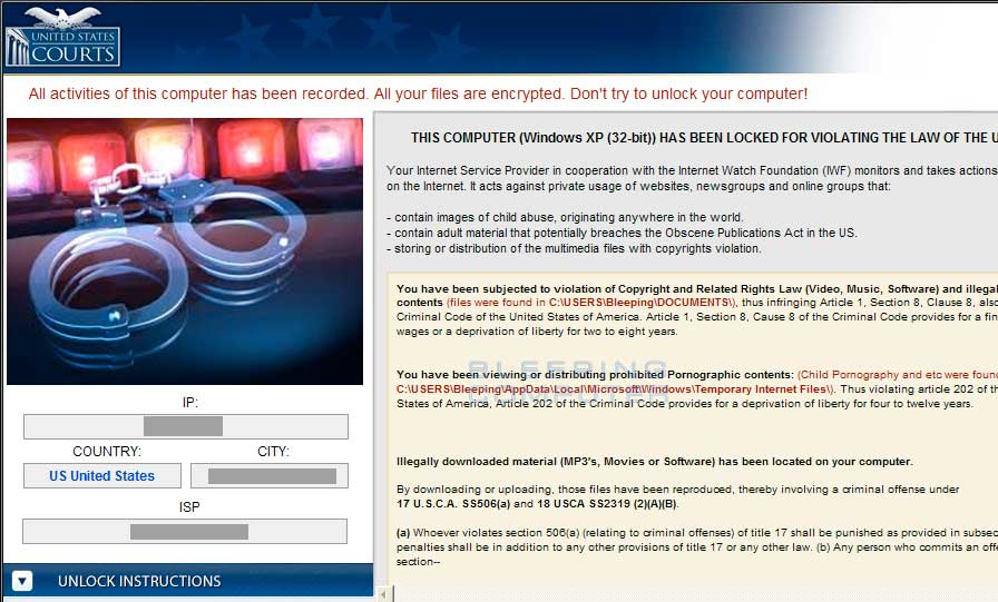 United States Courts Ransomware screen shot