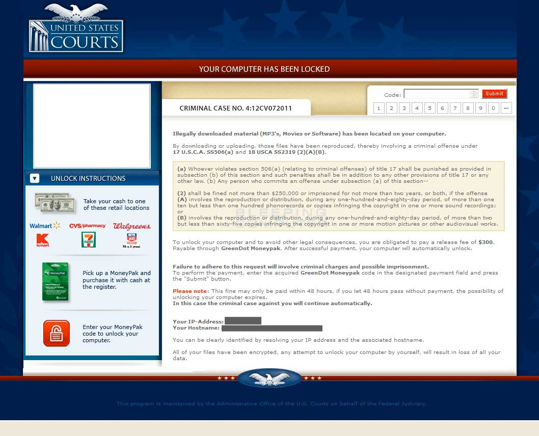 Older variant of the United States Courts Ransomware