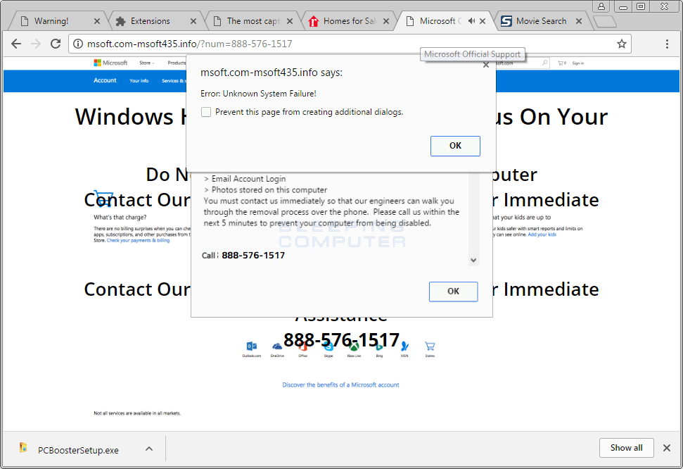 Unknown System Failure Browser Tech Support Scam