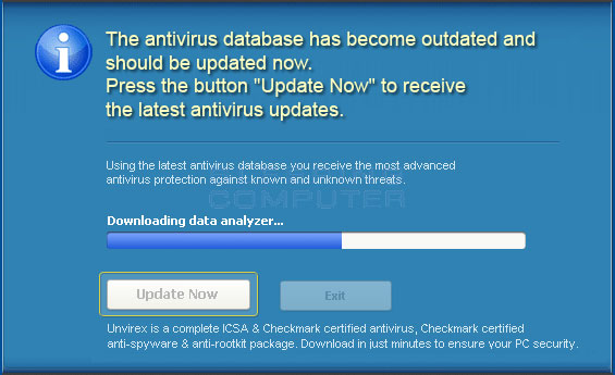 UnVirex updating the virus definitions