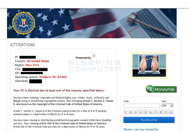Screenshot for the USA version of the Urausy Ransomware