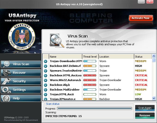 USAntiSpy screen shot
