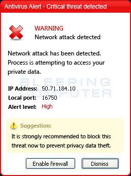 Fake antivirus alert