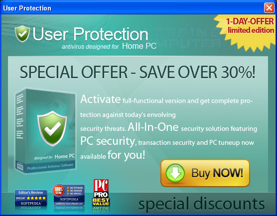 Pop-up ad to buy User Protection