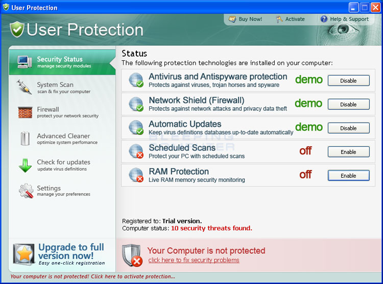 User Protection screen shot