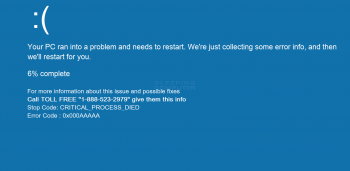 CRITICAL_PROCESS_DIED Tech Support Scam Screenshot