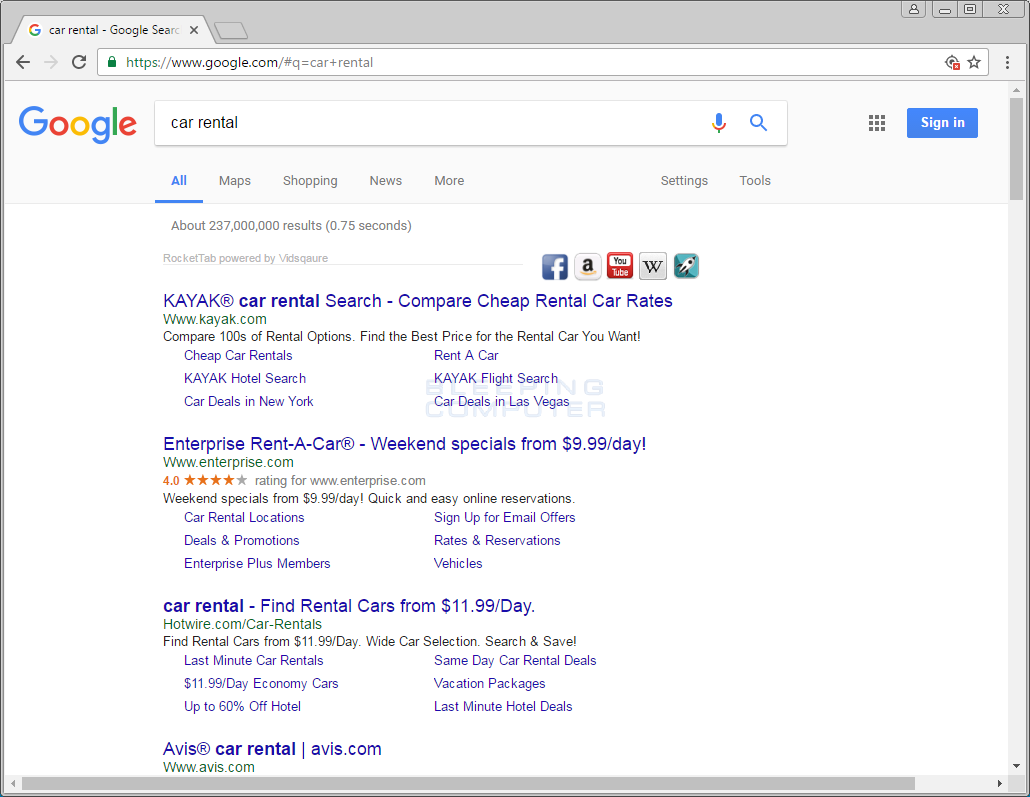 Vidsquare Ads in Google Search Results