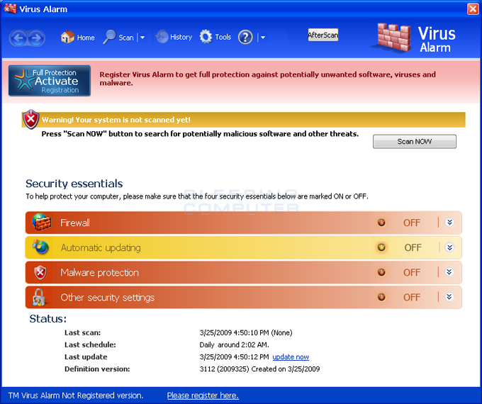 Virus Alarm screen shot