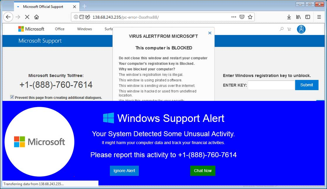 Virus Alert from Microsoft Tech Support Scam