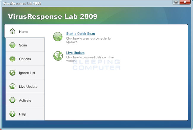 VirusResponse Lab 2009 screen shot