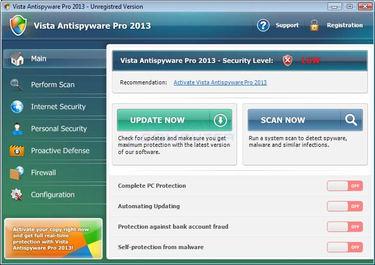 Vista Antispyware Pro 2013 screen shot