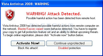 Fake warning from Vista Antivirus 2008