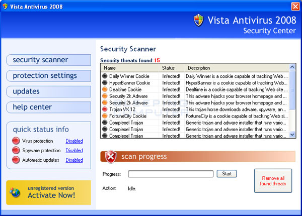 Vista Antivirus 2008 scan results