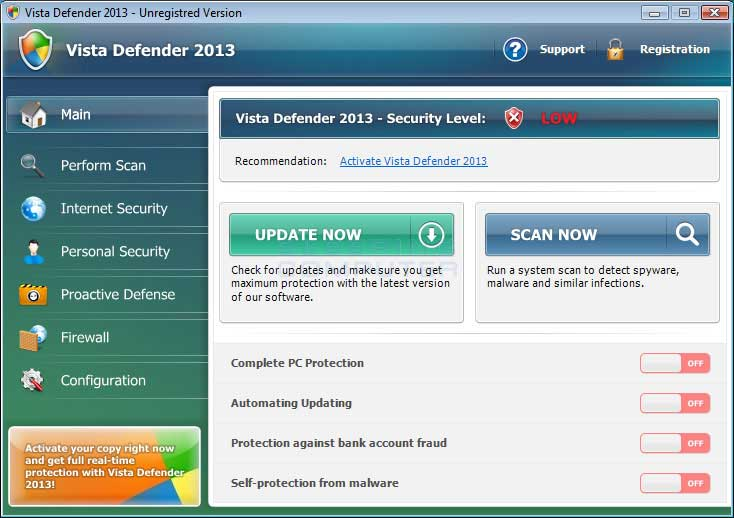 Vista Defender 2013 screen shot