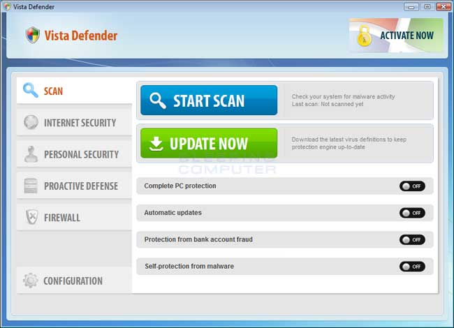 Vista Defender screen shot