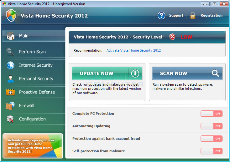 Vista Home Security 2012 screen shot