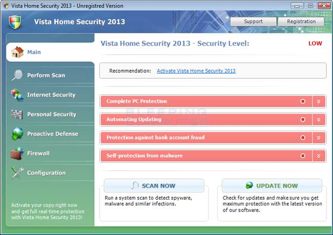 Vista Home Security 2013 screen shot