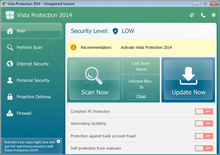 Vista Protection 2014 screen shot