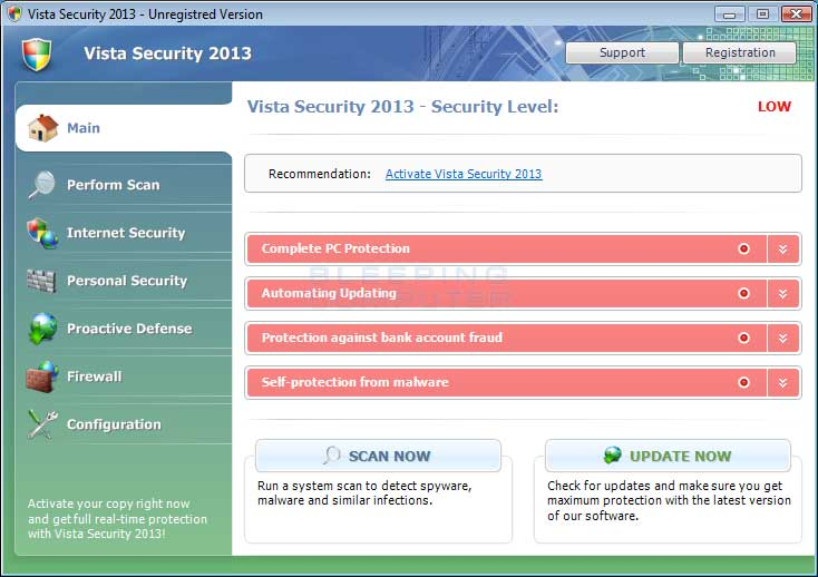 Vista Security 2013 screen shot