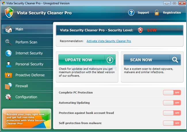 Vista Security Cleaner Pro screen shot