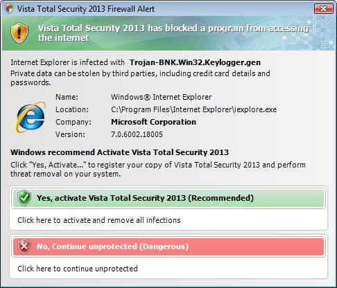 Fake firewall alert