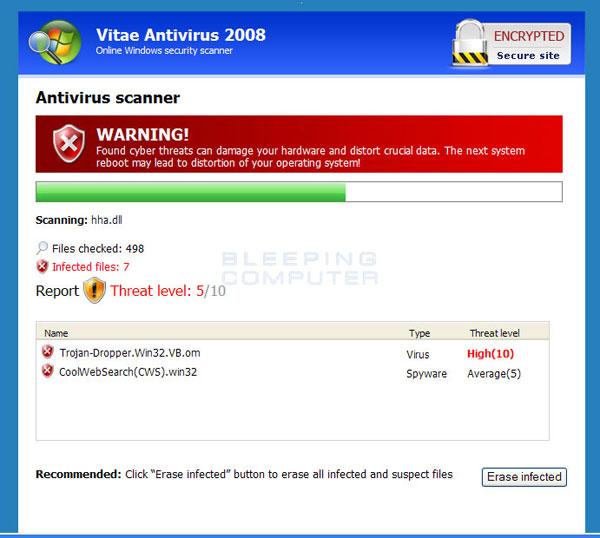 Fake web scanner for Vitae Antivirus 2008