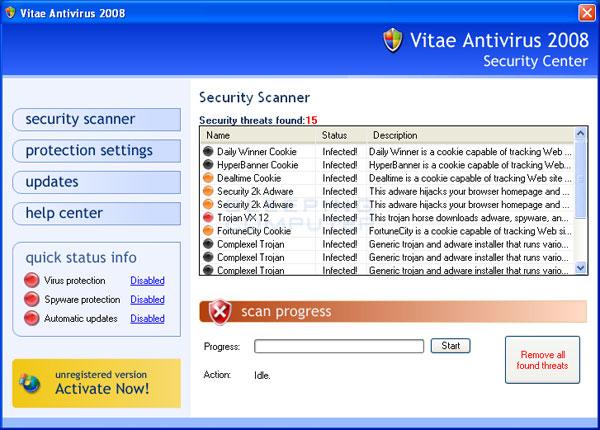 Vitae Antivirus 2008 screen shot