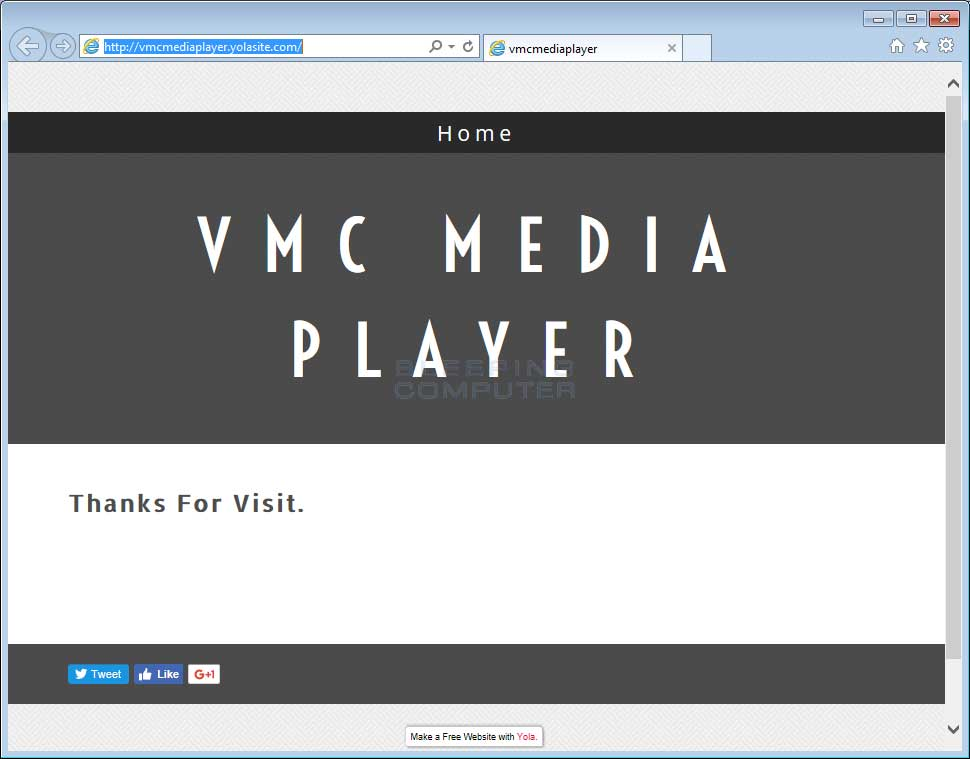 Fake VMC Media Player Site