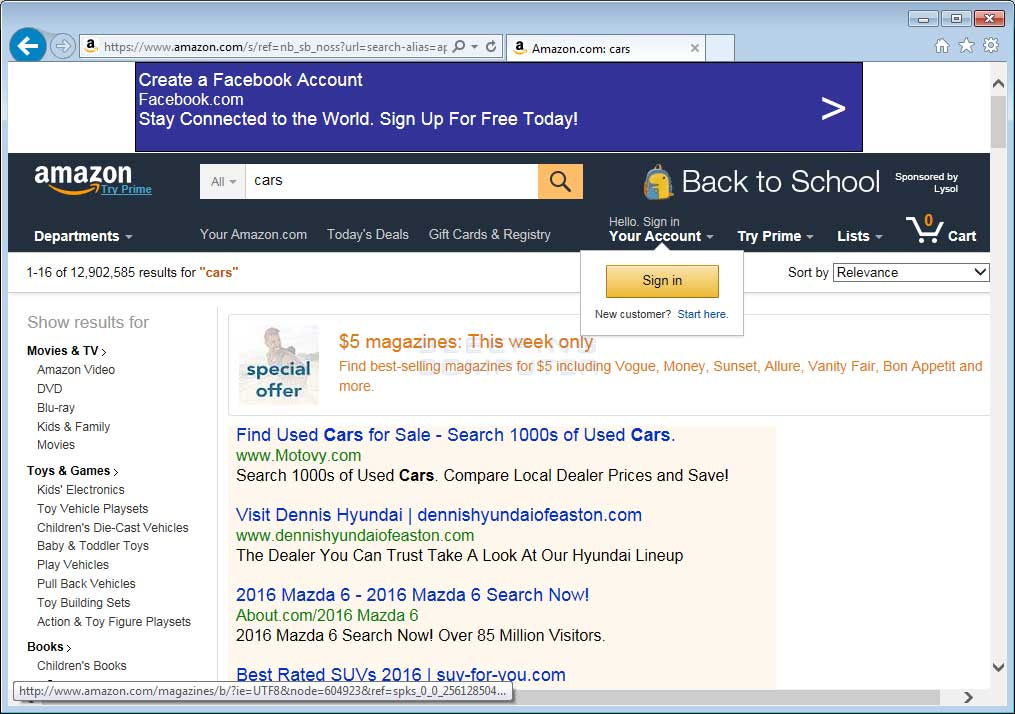 Websearcher Ads on Amazon