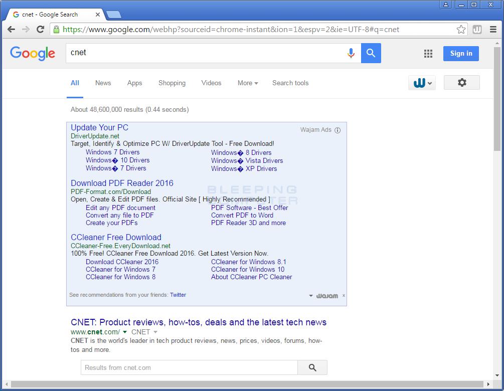 Wajam Advertisements in Google