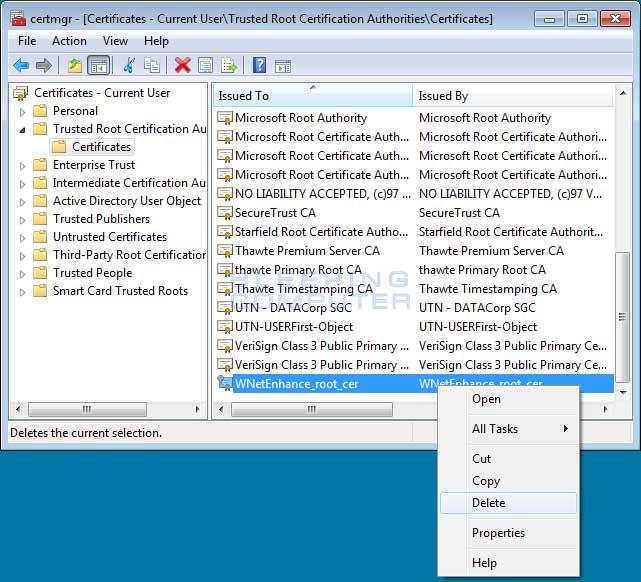 Delete Cloudguard.me certificate