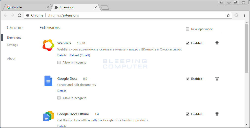 WebBars Extension