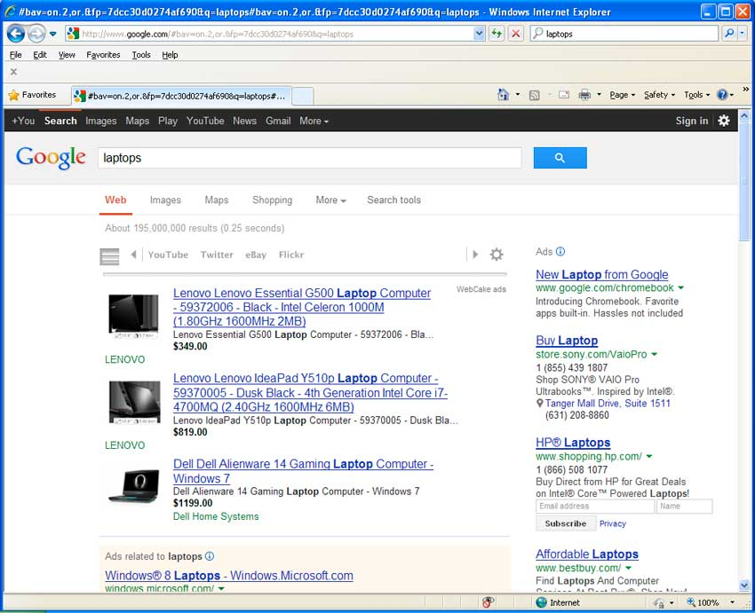 WebCake ads in Google