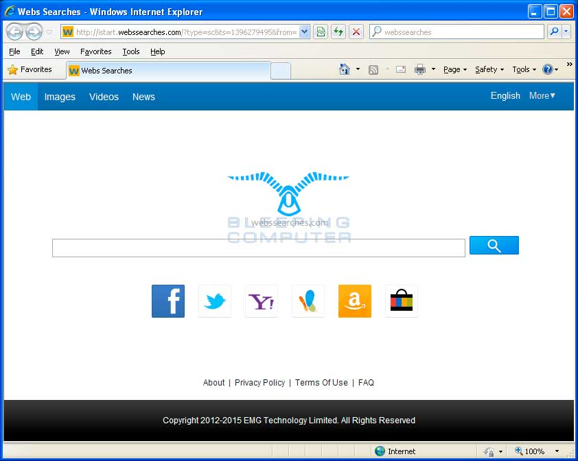 WebsSearches.com Browser Hijacker screen shot