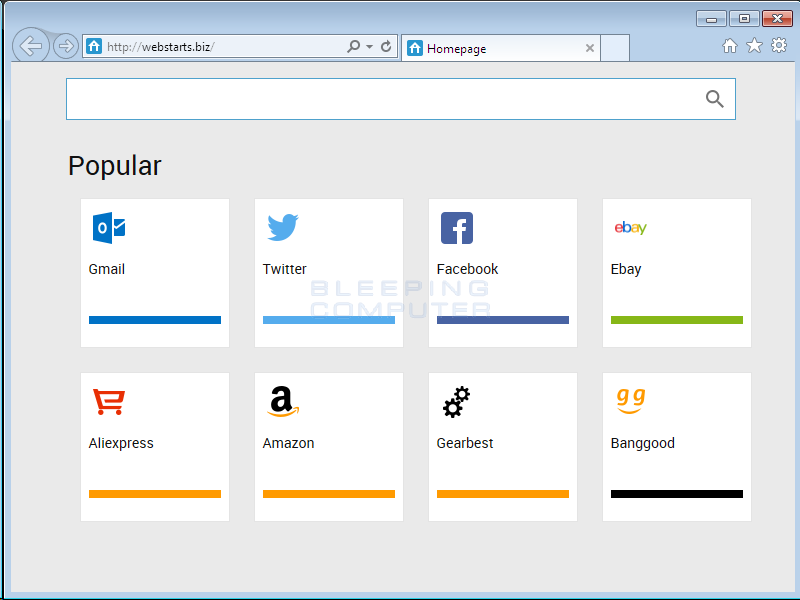 Webstarts.biz Browser Hijacker