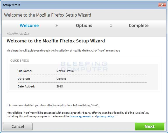 Firefox Update via an Adware Bundle