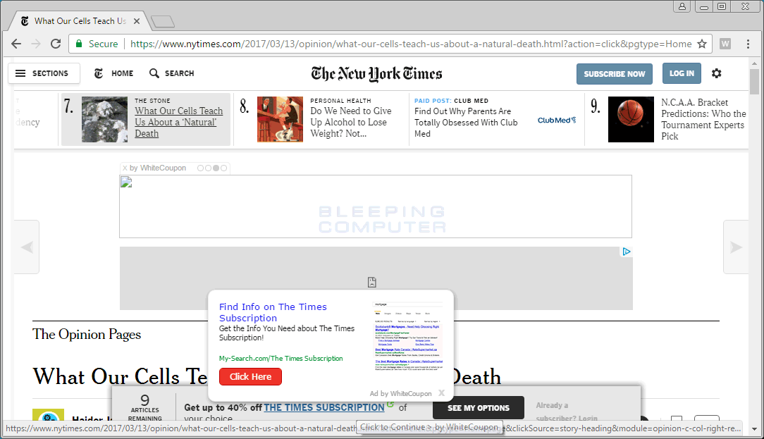 WhiteCoupon Ads on NYTimes.com