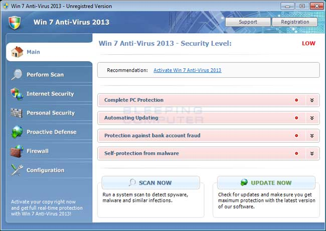 Win 7 Anti-Virus 2013 screen shot