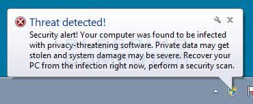 Threat detected alert